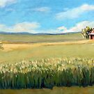 Corn and Clouds - original farm rural landscape original oil painting by LindaAppleArt