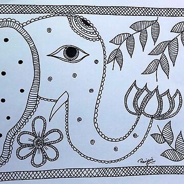 Madhubani Art - Elephant by ranjaniart