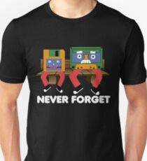 90s nostalgia - never forget audio cassette and floppy disk Unisex T-Shirt