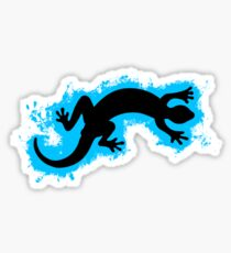 Animal gecko lightblue and black silhouette Sticker