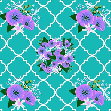 Beautiful,water color,painted,flowers,floral,teal,green,white,moroccan,pattern by love999