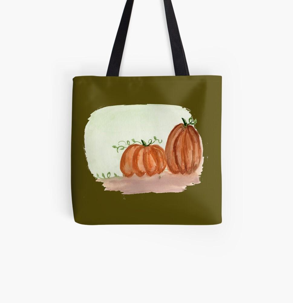 Fall Pumpkins All Over Print Tote Bag