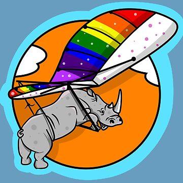 Rhinoceros flying a hang glider by piedaydesigns