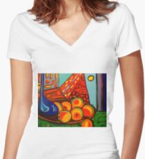 Picasso's Fruit Women's Fitted V-Neck T-Shirt