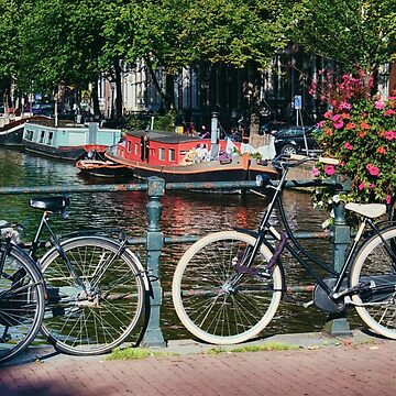 Classic Bicycles on a Bridge, Amsterdam, Netherlands by ozeg