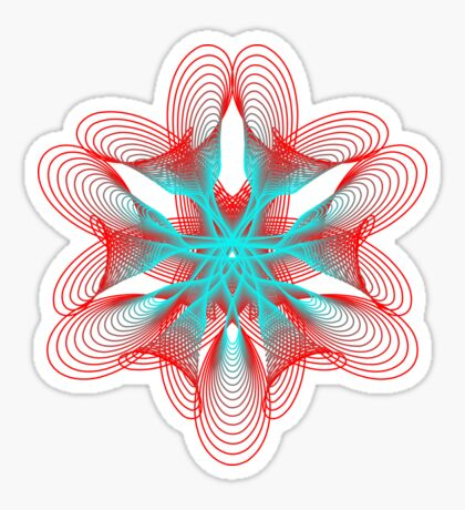 Spirograph with red and blue Sticker