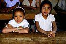 School Girls in Laos Village by Betsy  Seeton
