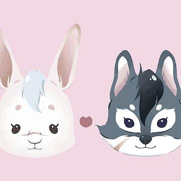 Bunny & Wolf by bloomejasmine