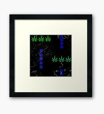 Marijuana Leaves and Scratches Framed Print