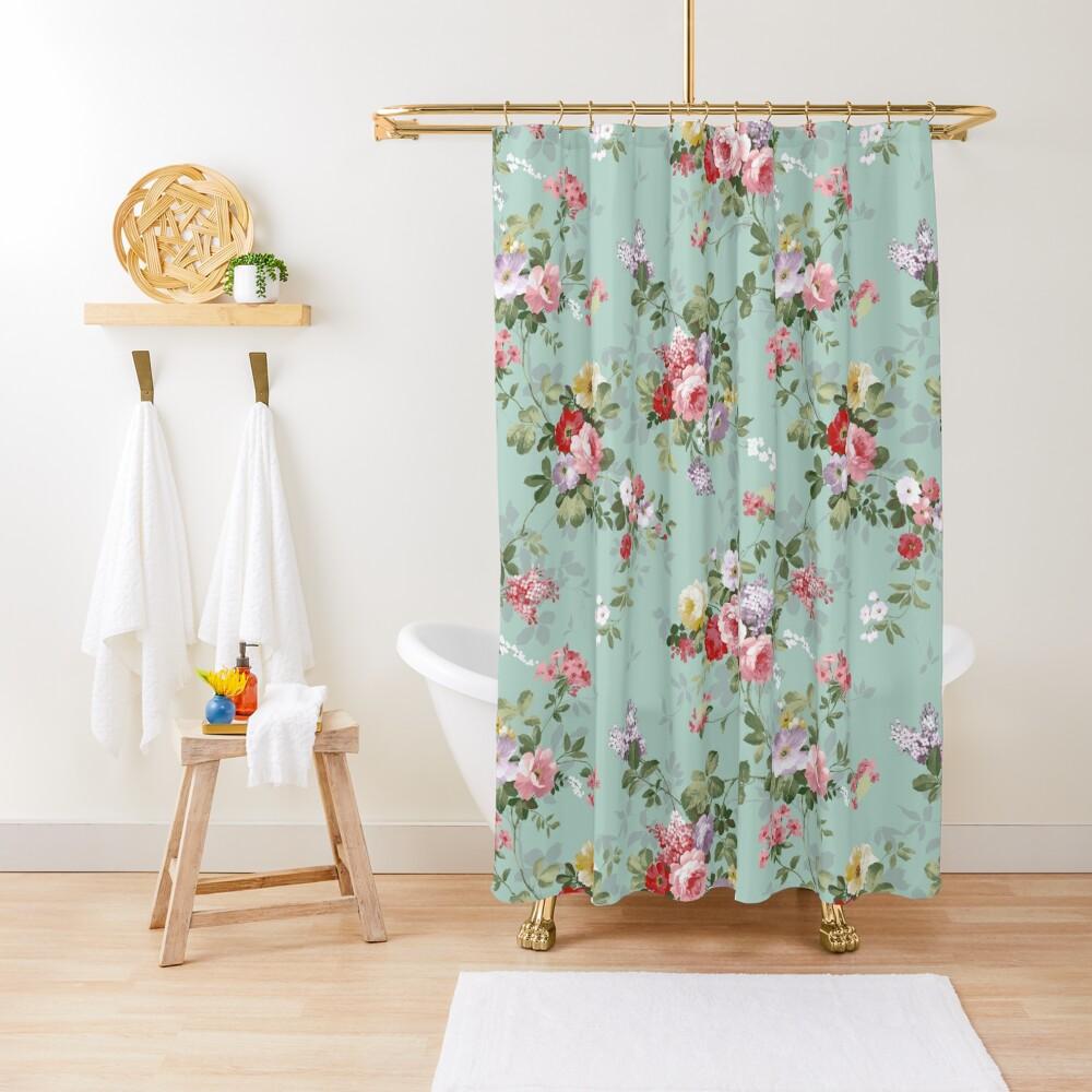 Elegant vintage pink roses floral pattern  Shower Curtain