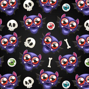Halloween Pattern with Bats on Dark Background by Voysla