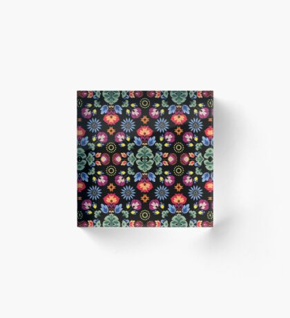 Fiesta Folk Black #redbubble #folk Acrylic Block