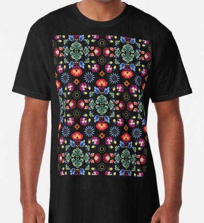 Fiesta Folk Black #redbubble #folk Long T-Shirt
