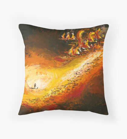 "The Land No 5 ""Fire in the Paddock"" Throw Pillow"