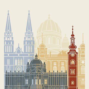 Zagreb skyline poster by paulrommer