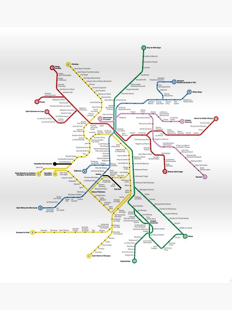 Paris France Metro Train Subway Tube Map | Poster
