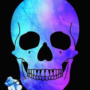 Halloween Blue Skull with flowers Design by IvonDesign