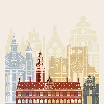 Leuven skyline poster by paulrommer