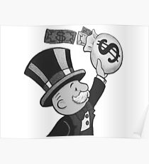 Mr.Monopoly Black and White Poster