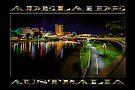 Adelaide Riverbank at Night IV (poster on black) by Ray Warren