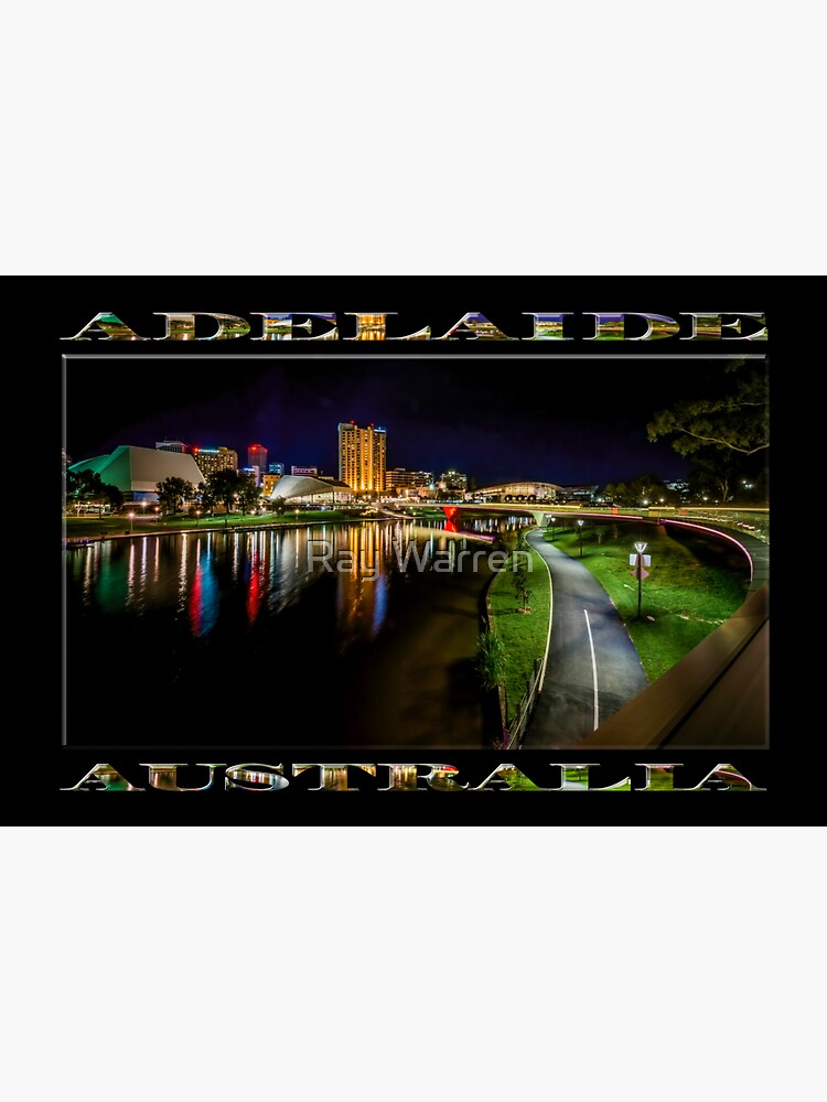 Adelaide Riverbank at Night IV (poster on black) by RayW