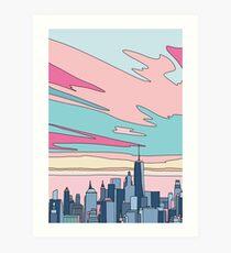 City sunset by Elebea Art Print