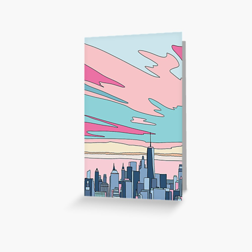 Stadtsonnenuntergang bei Elebea Grußkarte