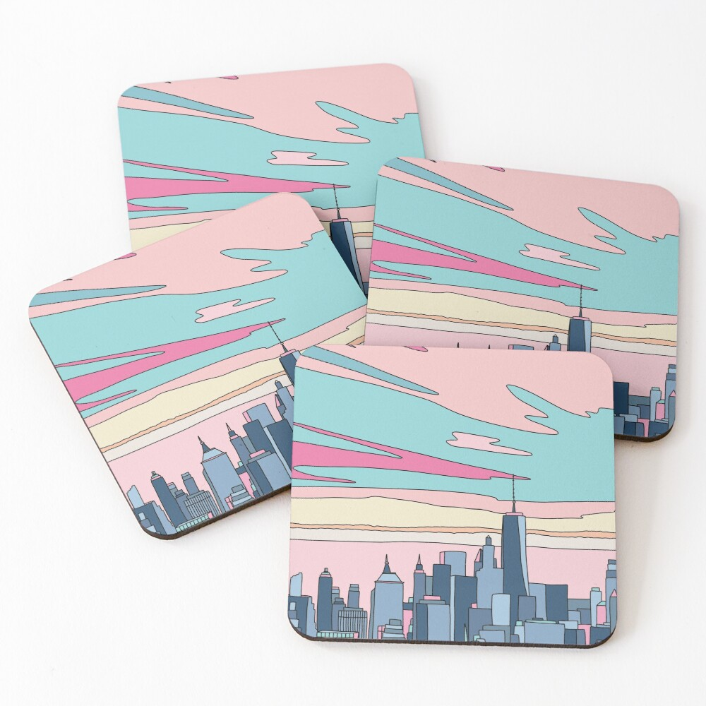 City sunset by Elebea Coasters (Set of 4)