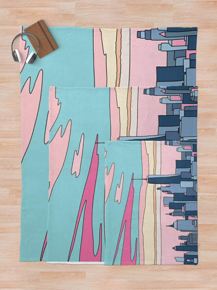 Alternate view of City sunset by Elebea Throw Blanket