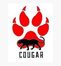 Cougar Wild Cat T-Shirt, Cougar paw stickers lion and Puma Shirt. Photographic Print