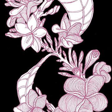 Plumeria Infinity - Pink Flower Pattern by kikoeart