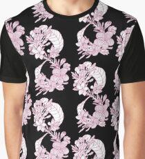 Plumeria Infinity - Pink Flower Pattern Graphic T-Shirt