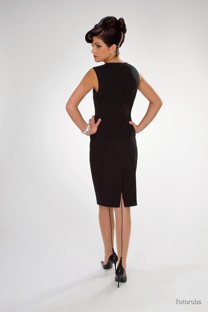 Woman in black dress by fotorobs