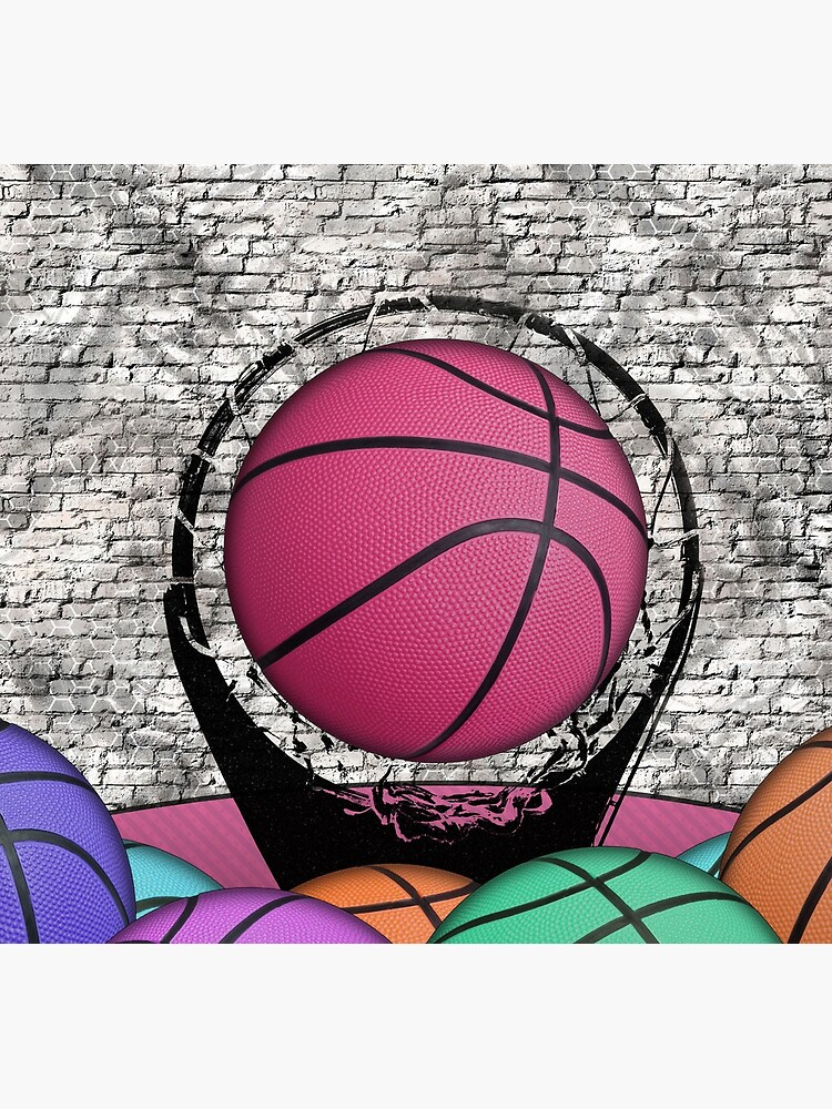 Colorful Basketballs Urban Grunge Hoop by SkylineSquirrel
