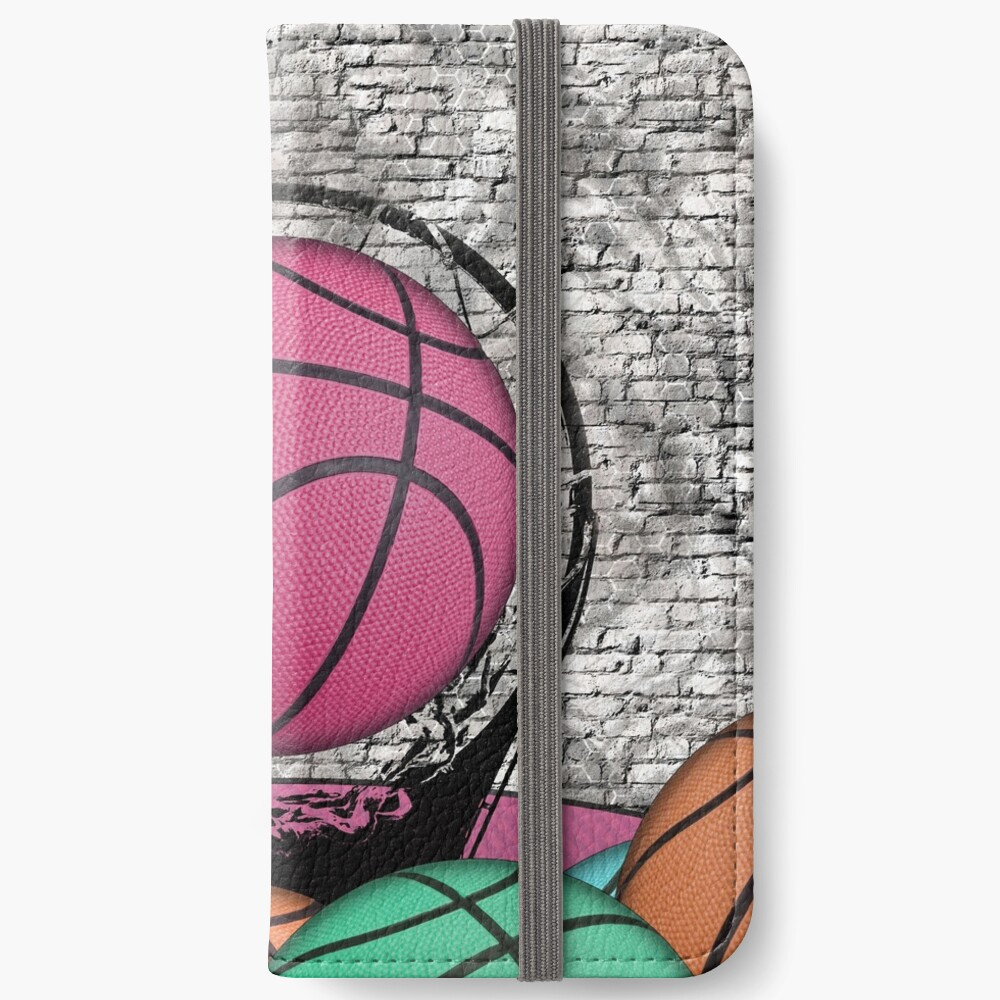 Colorful Basketballs Urban Grunge Hoop iPhone Wallet