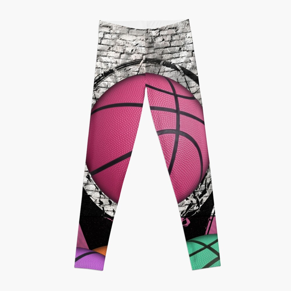 Colorful Basketballs Urban Grunge Hoop Leggings