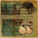 Tarantella Dancers And Tarantula Spider With Web On Cream Background  by MHirose