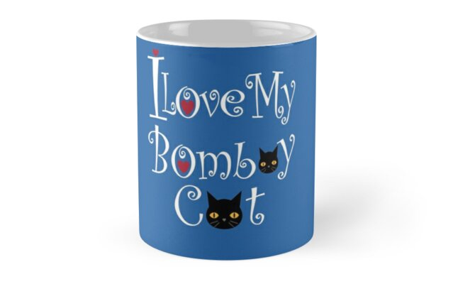 'Cute I Love My Bombay Black Cat T-Shirt With Hearts' Mug by Dogvills