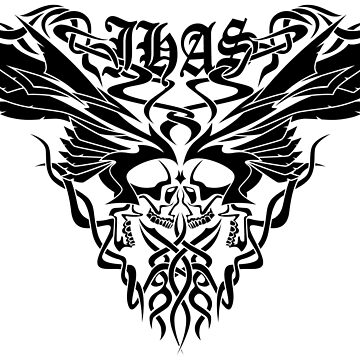 Classic JHAS Tribal Skull Wings Illustration by hobrath