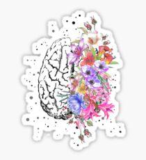 Brain anatomy,  watercolor Brain, flowers brain, brain with Flowers Sticker