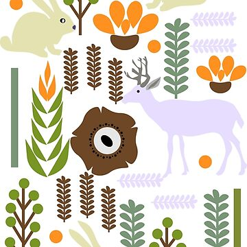 Bunny and deer in the garden by cocodes