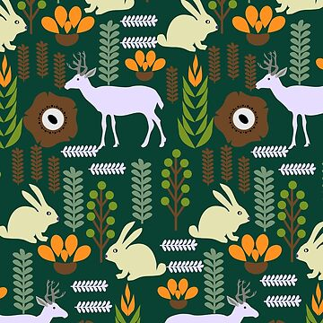 A garden with bunnies and deer by cocodes
