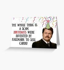 Ron Swanson, Parks and Recreation, Birthday card, meme greeting cards Greeting Card