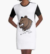 Funny Grizzly Bear T-shirt & Sticker, Brown Bear Sticker, Emoji and Shirt Graphic T-Shirt Dress