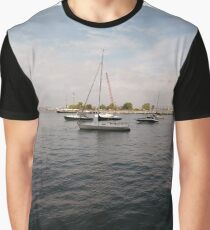 #boat, #yacht, #water, #boats, #ship, #marina, #sky, #harbor, #port, #sailboat, #sailing, #blue, #harbour, #sail, #vessel, #nautical, #travel, #summer, #yachts, #dock, #coast, #pier Graphic T-Shirt