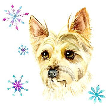 Yorkie Dog and Snowflakes Watercolor Painting by namibear