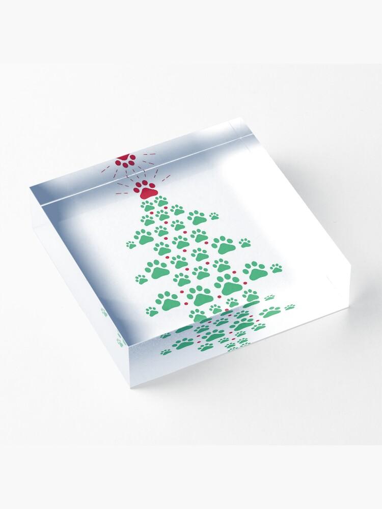 Vista alternativa de Bloque acrílico Super lindo perro patas impresión árbol de navidad camiseta