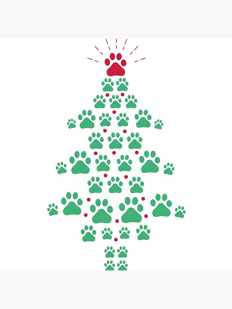 Super lindo perro patas impresión árbol de navidad camiseta de Dogvills
