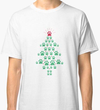 Super Cute Dog Paws Print Christmas Tree T-Shirt Classic T-Shirt