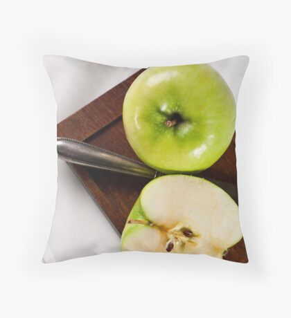 Green Apple and Knife Throw Pillow